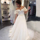 Sweetheart Off Shoulder A Line Wedding Dresses Lace Appliques Bridal Gown