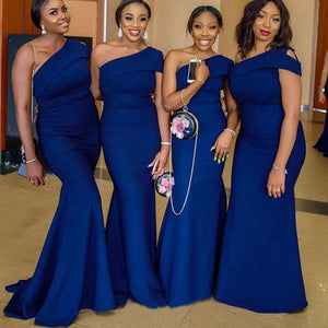 Blue One Shoulder Sleeveless Satin Mermaid Long Bridesmaid Dresses