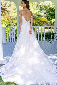 Fashion White A-Line Open Back Lace Wedding Dresses Cheap Bridal Dresses - EVERISA