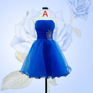 Cheap Strapless Sleeveless A Line Short Homecoming Dresses With Beading