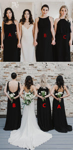 Cheap Black Sleeveless Backless A Line Chiffon Long Bridesmaid Dresses