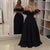 Black Sweetheart Off Shoulder High Low Prom Dresses With Lace