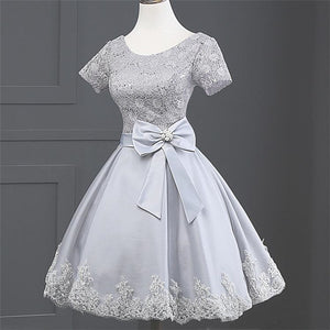 Grey Scoop Neck Short Sleeve A Line Homecoming Dresses With Lace Appliques