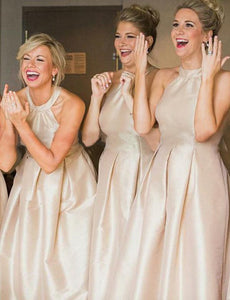 Champagne High Neck Sleeveless A Line Satin Bridesmaid Dresses