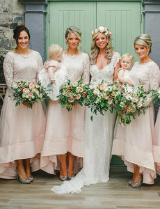 Pink Long Sleeve Lace A Line High Low Plus Size Bridesmaid Dresses