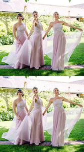 Pink Halter Sleeveless A Line Tulle Long Bridesmaid Dresses With Lace Appliques