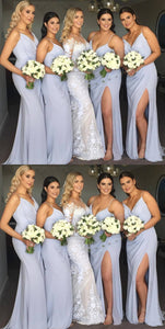 Spaghetti Straps V Neck Sleeveless Side Slit Long Bridesmaid Dresses