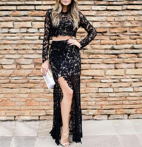 Sexy Black Two Piece Long Sleeve Prom Dresses Side Slit Evening Dress