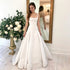 Simple White Square Neck Sleeveless A Line Satin Long Wedding Dresses