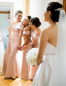 Elegant Pink Off Shoulder Mermaid Long Satin Bridesmaid Dresses
