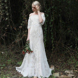 White Off Shoulder Half Sleeve Lace Wedding Dresses Mermaid Bridal Gown