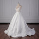Sexy V Neck Sleeveless White Long A Line Satin Wedding Dress