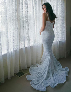 Spaghetti Straps Sleeveless Mermaid Wedding Dresses Lace Bridal Dresses