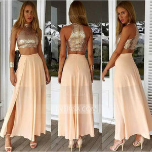 2 Piece Sleeveless High Neck Chiffon Evening Dresses Cheap Prom Dresses - EVERISA