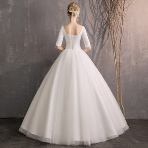 White Square Neck Half Sleeve A Line Tulle Wedding Dresses