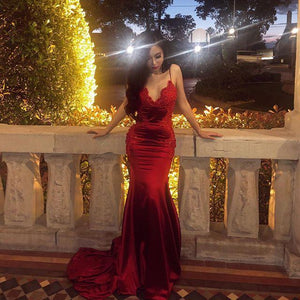 Sexy Burgundy V Neck Backless Mermaid Prom Dresses With Lace