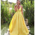 Sexy Yellow Sleeveless Backless A Line Satin Prom Dresses