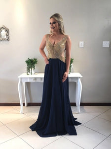 Navy Blue V Neck Sleeveless Beading Prom Dresses Backless Evening Dresses