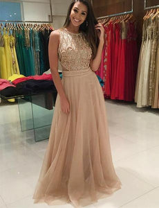 Sexy Champagne Sleeveless Beaded Long Prom Dresses With See Through Back