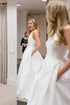Elegant A-Line Round Neck Satin Wedding Dresses Bride Gown with Bowknot Pockets