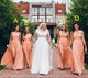 Elegant Orange Sleeveless A Line Empire Waist Long Bridesmaid Dresses