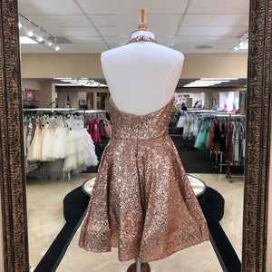 Rose Gold Halter Sleeveless Backless Sequin Short Homecoming Dresses