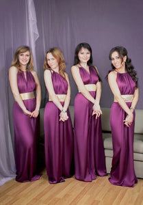 Simple Purple Sleeveless Halter Long Bridesmaid Dresses