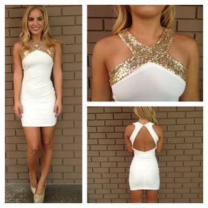 Sexy White Haler Open Back Slim Line Prom Dresses With Sequin
