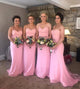 Pink Spaghetti Straps Sleeveless Mermaid Bridesmaid Dresses With Lace
