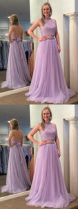 Lilac Two Piece Sleeveless Halter Prom Dresses Lace Beaded Evening Dresses