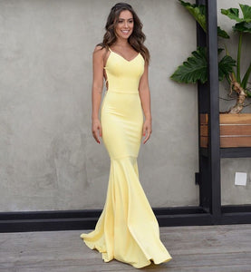 Yellow Spaghetti Straps Backless Prom Dresses Mermaid Evening Dresses