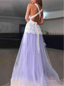 Deep V Neck Cross Back Sleeveless Long Prom Dresses With Lace