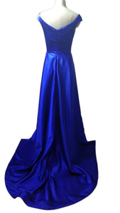 Royal Blue V Neck Backless Front Split Long Prom Dresses