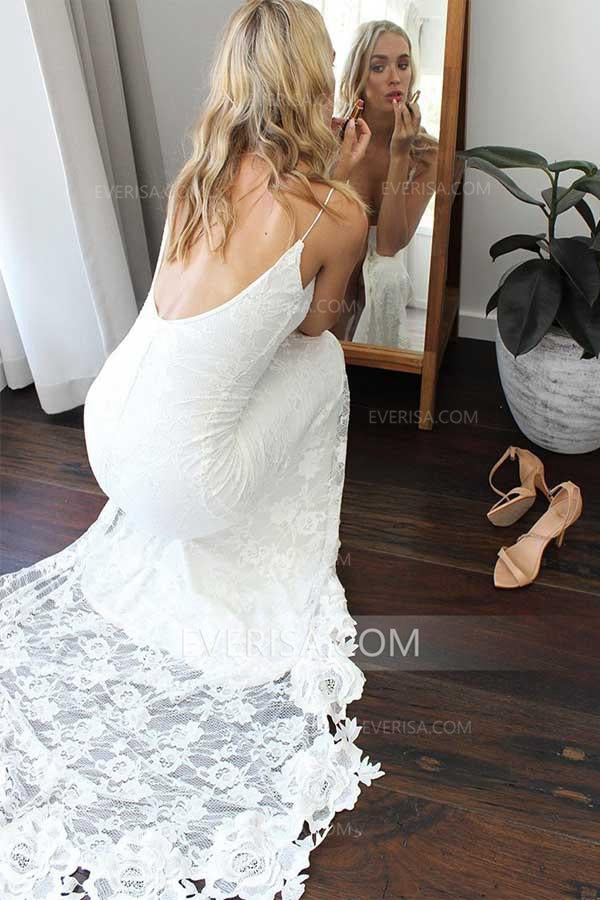 a6839ce1ae0 Sexy White Open Back Side Slit Lace Wedding Dresses Cheap Bridal Gowns
