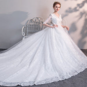 White V Neck Half Sleeve High Waist Lace Wedding Dresses