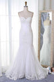 Fashion White Mermaid Sweetheart Tulle Wedding Dresses Bridal Gown With Appliques - EVERISA