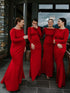 Simple Red Mermaid Long Sleeve Sheath Long Bridesmaid Dresses