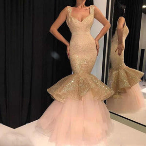 Sparkly Rose Gold Sequin Sleeveless Prom Dresses Mermaid Evening Dresses