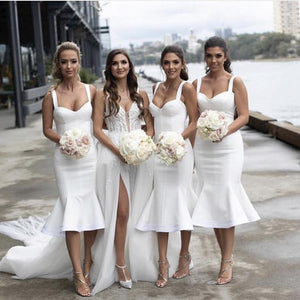 Sweetheart Spaghetti Straps Mermaid Short Bridesmaid Dresses