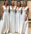 White V Neck Sleeveless Empire A Line Satin Bridesmaid Dresses