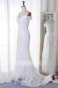 Elegant White Off Shoulder Backless Lace Wedding Dress Inexpensive Bridal Gown - EVERISA