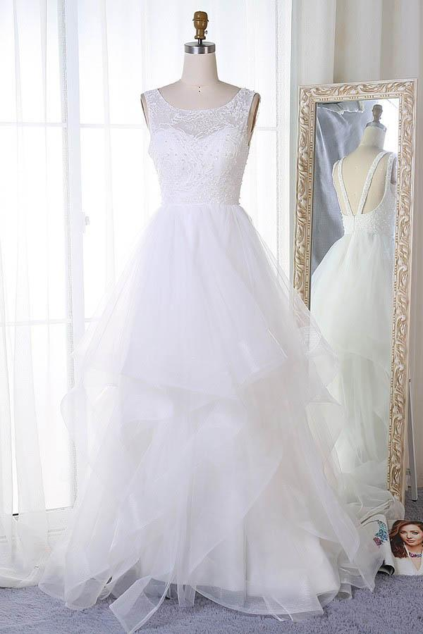 6a8bfdfa0789dc Elegant White Scoop Neck Backless Lace Wedding Dress Bridal Gown With  Beading - EVERISA