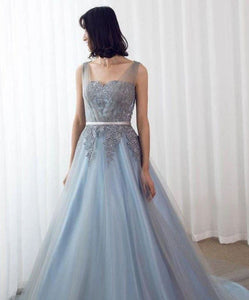 Sleeveless Lace Appliques Prom Dresses Long Quinceanera Dresses