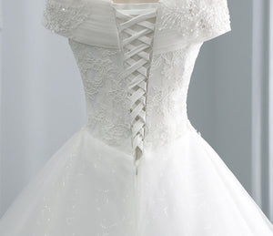 Elegant Cap Sleeve A Line Wedding Dresses With Lace Appliques