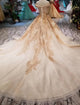 Luxury Off Shoulder Lace up Beaded Wedding Dresses With Gold Lace