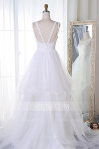 Elegant White Scoop Neck Backless Lace Wedding Dress Bridal Gown With Beading - EVERISA