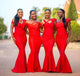 Red Off Shoulder Mermaid Long Bridesmaid Dresses With Ruched