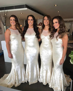Sleeveless Jewel Neck Plus Size Mermaid Sequin Bridesmaid Dresses