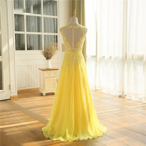 Yellow See Through Lace Top Chiffon Long Prom Dresses