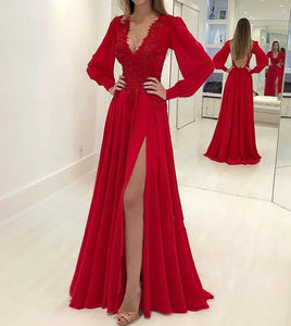 Sexy Red V Neck Long Sleeve Backless Side Slit Prom Dresses